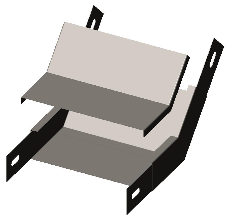 Угол внутренний (подъем угловой, секция подъёмная) 45° с крышкой