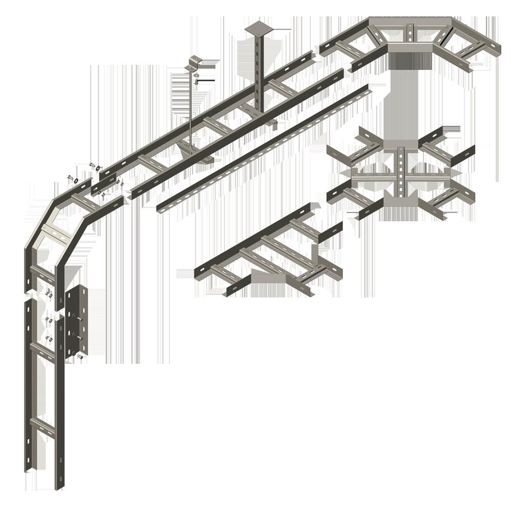 Пример монтажа металлического лотка НЛ стены-бетон