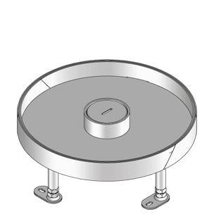 Кассетный лючок, круглый, с тубусом для кабеля, тройной, нивелируемый