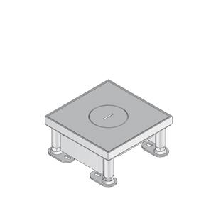 Лючок простой, для тяжелых нагрузок, четырёхугольный, с тубусом для кабеля, нивелируемый