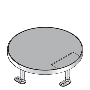 Кассетный лючок, круглый, с выводом для кабеля, тройной, нивелируемый