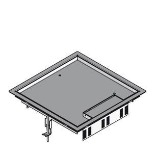 Напольный лючок четырёхугольный, тройной, с выходом для кабеля