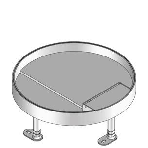 Кассетный лючок для тяжелых нагрузок, круглый, с выводом для кабеля, тройной, нивелируемый